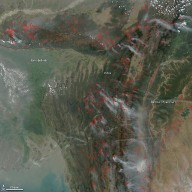 Fires in Eastern India and Northwest Burma