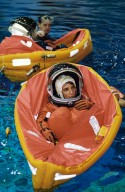 STS-109 Crewmembers during Water Survival Training at SCTF
