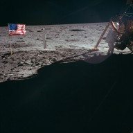 Apollo 11 Mission image - Astronaut Neil Armstrong works at the Lunar Module