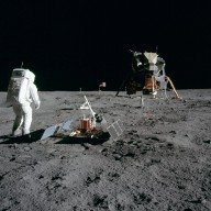 Apollo 11 Mission image - Astronaut Edwin Aldrin sets up the PSEP