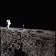 Apollo 12 Mission image - Photo of Al Bean and the TV taken from just inside the rim of Surveyor Crater