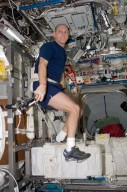 FE Anderson exercising on the CEVIS during STS-118/Expedition 15 Joint Operations