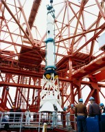 KSC Negs - 9443-9460, erection of Apollo Launch escape system 009 on service tower - Complex 34