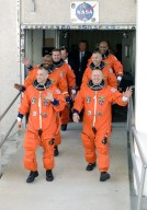STS-129 Crew Members head for Launch Pad 39A