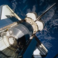 STS-100 orbiter Endeavour payload bay with MPLM Raphaello visible