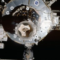 PMA2 and U.S. Lab as seen during STS-113 rendezvous for docking