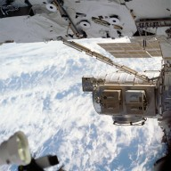 View of the Quest A/L crew lock, toolboxes and MISSE taken during STS-113