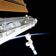 Lopez-Alegria and Herrington work at the P1 truss during STS-113 EVA 2