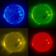 *Captions:* * Blue (171 Angstroms) full disk image: The Sun's million degree atmosphere taken on Dec. 4 by STEREO's SECCHI/EUVI telescope. The close-up of the active region is cropped from the full disk image. * Blue (171 Angstroms): The Sun's million degree atmosphere taken on Dec. 4 by STEREO's SECCHI/EUVI telescope. Close-up of the active region cropped from the full disk image. * Orange (304 Angstroms) full disk: The orange image shows portions of the sun's atmosphere at 60,000 to 80,000 C taken on Dec. 4 by STEREO's SECCHI/EUVI telescope. [ http://sohowww.nascom.nasa.gov/pickoftheweek/old/22dec2006/halfres_195col_ed.jpg ] Hi-res TIF image [ http://sohowww.nascom.nasa.gov/pickoftheweek/old/22dec2006/halfres_195col_ed.tif ] (1.7M) [ http://sohowww.nascom.nasa.gov/pickoftheweek/old/22dec2006/SOHOmdi_mag_light.jpg ] Hi-res TIF image [ http://sohowww.nascom.nasa.gov/pickoftheweek/old/22dec2006/SOHOmdi_mag_light.tif ] (920K) [ http://sohowww.nascom.nasa.gov/pickoftheweek/old/22dec2006/cor2pretty2_ed.jpg ] Hi-res TIF image [ http://sohowww.nascom.nasa.gov/pickoftheweek/old/22dec2006/cor2pretty2_ed.tif ] (3.8M) *Captions:* * Green (195 Angstroms) full disk: The Sun in light emitted at 1.5 million degrees C taken on Dec. 4 by STEREO's SECCHI/EUVI telescope. * SOHO's full disk magnetogram: Taken Dec. 4, this image shows the magnetic features on the Sun's surface. Taken by SOHO's MDI instrument. * The first coronal mass ejection (CME) observed by STEREO. This image was taken on Dec. 9 with STEREO's SECCHI/Cor2 coronagraph. A coronagraph blocks the bright disk of the sun allowing scientists to see the Sun's faint outer atmosphere, the corona. The white circle shows the location of the solar disk. The mass ejection can be seen on the right hand side of the image as outward directed streak ending in a faint ring.