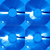 An image sequence over less than two hours of a coronal mass ejection 7 April 1997 taken by LASCO C2. In this sequence a CME blasts into space a billion tons of particles travelling millions of miles an hour.