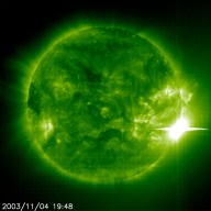 X28 flare in EIT 195 -- The Sun unleashed a powerful flare on 4 November 2003 that could be the most powerful ever witnessed and probably as strong as anything detected since satellites were able to record these events n the mid-1970s. The still and video clip from the Extreme ultraviolet Imager in the 195A emission line captured the event. The two strongest flares on record, in 1989 and 2001, were rated at X20. This one was stronger scientists say. But because it saturated the X-ray detector aboard NOAA's GOES satellite that monitors the Sun, it is not possible to tell exactly how large it was. The consensus by scientists put it somewhere around X28.