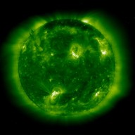 SOHO-EIT image in resonance lines of eleven times ionized iron (Fe XII) at 195 Angstroms in the extreme ultraviolet showing the solar corona at a temperature of about 1 million K. This image was recorded on 11 September 1997. It is dominated by two large active region systems, composed of numerous magnetic loops.
