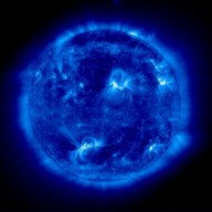 SOHO-EIT image in resonance lines of eight and nine times ionized iron (Fe IX/X) at 171 Angstroms in the extreme ultraviolet showing the solar corona at a temperature of about 1 million K. This image was recorded on 11 September 1997. It is dominated by two large active region systems, composed of numerous magnetic loops.
