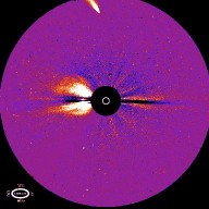 Comet Hyakutake, as imaged by the C3 coronagraph of the Naval Research Laboratory's LASCO instrument on the SOHO spacecraft on 2 May 1996. This picture shows the comet to the north of the Sun. The bright region near the Sun is a coronal mass ejection.