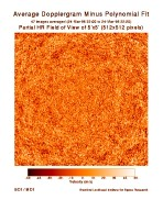 MDI Partial High Resolution Dopplergram Minus Polynominal Fit This image is a portion of a MDI highresolution dopplergram and shows about 4% of the solar disk. The largescale rotation signature has been removed to clarify the smallerscale surface motions.