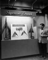 NACA EXHIBIT FOR INSPECTION BY THE INSTITUTE OF AERONAUTICAL SCIENCE - DISPLAY OF RAM JET ENGINE MODEL WING STUDY ON PRESSURE DISTRIBUTION WITH D WYATT