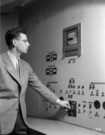 TELEVISION SET MOUNTED IN CONTROL ROOM IN THE 8X6 FOOT SUPERSONIC TUNNEL PHOTOGRAPHED FOR THE CLEVELAND ELECTRIC ILLUMINATING COMPANY