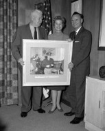 ALLEN LOWE HOTEL CLEVELAND PRESENTS 1946 PHOTOGRAPHS OF GENERAL JIMMY DOOLITTLE AND GENERAL DWIGHT EISENHOWER VISITING NASA LEWIS RESEARCH CENTER TO DR EDWARD SHARP NASA