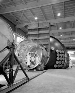 20 FOOT DIAMETER VACCUM TANK WITH ONE END OPENED AT THE ION PROPULSION FACILITY