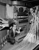 PIPE ORGAN IN CHURCH AT DOVER CENTER ROAD WITH REBUILDERS - RICHARD B BROWN AND MILO C SWANSON NASA EMPLOYEES - FOR STORY IN LEWIS NEWS NEWSLETTER