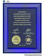 NASA DC-9 AIRPLANE MICROGRAVITY PLAQUE PRESENTED BY CANADIAN MICROGRAVITY RESEARCH TEAM