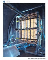 LOCKHEED MARTIN SPACE STATION RADIATOR PANELS FLIGHT HARDWARE STOWED WITH INFRARED HEAT LAMPS RUNNING AT NASA PLUM BROOK STATION SPACE POWER FACILITY SPF