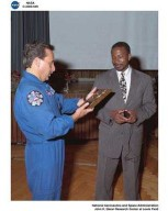 SILVER SNOOPY AWARD PRESENTATIONS AND AWARD RECIPIENTS / ASTRONAUT CHARLES CAMARATA AND WOODROW WHITLOW