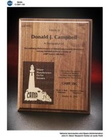 TRIBUTE TO DONALD CAMPBELL PLAQUE PRESENTED BY CAMP INCORPORATED