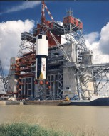 Saturn V First Stage is Lifted Into Test Stand
