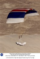 X-38 Vehicle #132 in Flight with Deployed Parafoil during First Free Flight