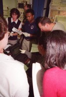 STS-107 crew members become acquainted with equipment at SPACEHAB