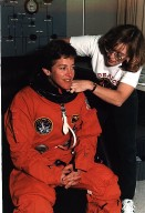STS-67 Flight Engineer Wendy Lawrence Suites Up