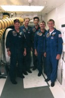 STS-69 crew outside Endeavour during TCDT