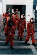 STS-78 Crew leaving O&C during TCDT