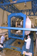 Neurolab for STS-90 is moved to its workstand in the O&C