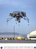 Lunar Landing Research Vehicle (LLRV) in flight lifting off from ramp