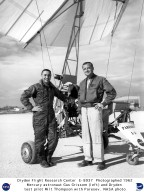 Paresev on lakebed with Mercury astronaut Gus Grissom and Dryden test pilot Milt Thompson