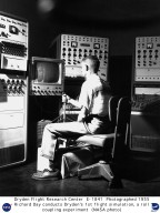 Richard Day conducts an early flight simulation, a roll coupling experiment