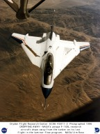 F-16XL Ship #2 during last flight viewed from tanker showing titanium laminar flow glove on left win