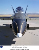 F-18 HARV on ramp close-up of actuated nose strakes