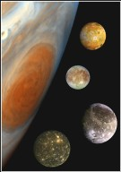 Family Portrait of Jupiter's Great Red Spot and the Galilean Satellites