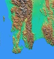 Shaded relief with Color as Height, Wellington, New Zealand