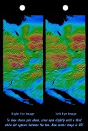 Stereo Pair of Height as Color & Shaded Relief, New York State, Lake Ontario to Long Island