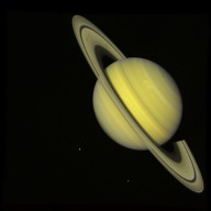 Saturn With Rhea and Dione (true color)