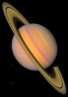 Saturn and 4 Icy Moons, Enhanced Color