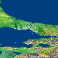 Shaded Relief and Radar Image with Color as Height, Bosporus Strait and Istanbul, Turkey