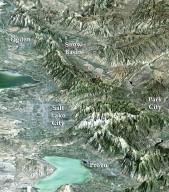 Perspective View with Landsat Overlay, Salt Lake City Olympics Venues, Utah