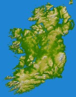 Ireland, Shaded Relief and Colored Height