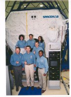 STS-107 Crew in front of SPACEHAB