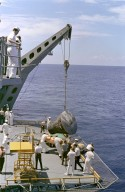 Gemini 5 Capsule Hoisted Onboard Recovery Ship